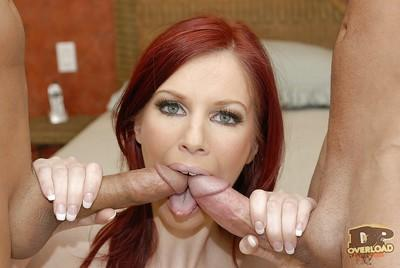 Salacious redhead MILF in sexy nylons has some DP fun with two cocks