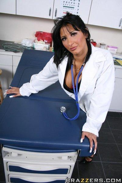 Sexy doctor with big tits Ricki Raxxx masturbating her hot pussy