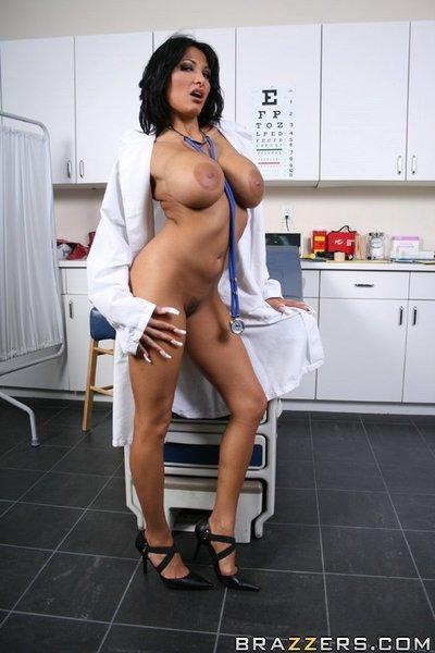 Sexy doctor with big tits Ricki Raxxx masturbating her hot pussy