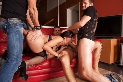 Gangbang milf Lou Charmelle is ready for a stunning groupsex bang