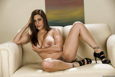 Curvaceous latina MILF on high heels getting naked and taking shower