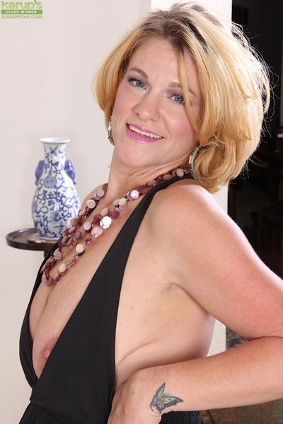 Miraculous milf in black dress Kelsey Johnson exposes her panties