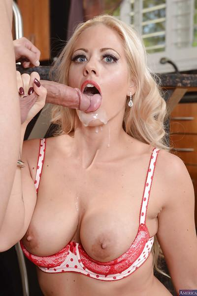Blonde cougar Holly gets so mouth fucked that she sucks a dick