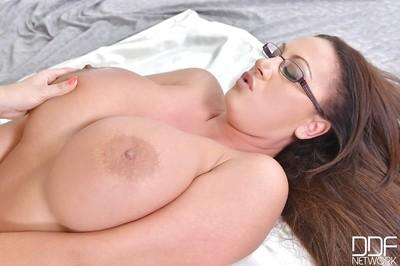 Fatty lesbian milfs with big tits and glasses humping each other