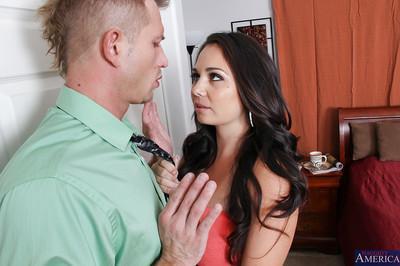 Gorgeous brunette MILF seduces her boyfriend