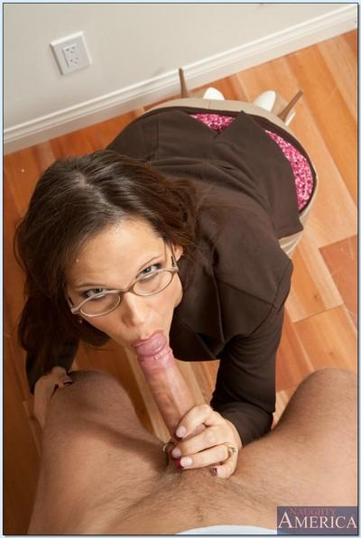 Lusty MILF teacher with glasses Syren De Mer fucks in reality porn.