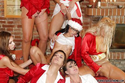Lecherous pornstars having some wet lesbian fun at the christmas party