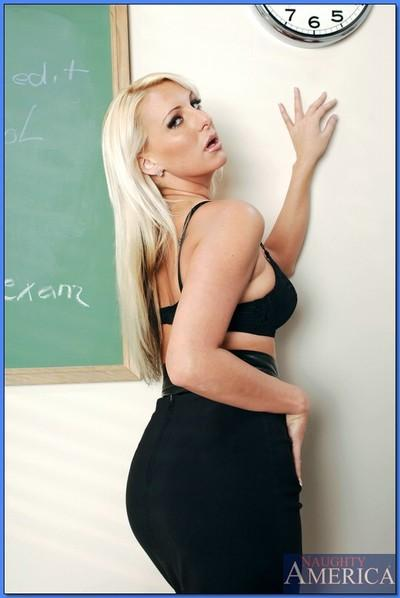 Blond teacher in high heels showing off big ass and ripe boobs