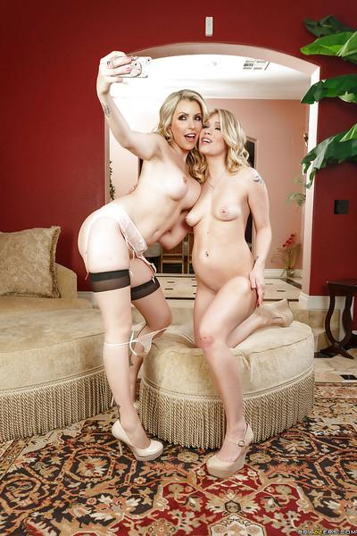 Hot blonde mommies Courtney Cummz and Dakota James posing together