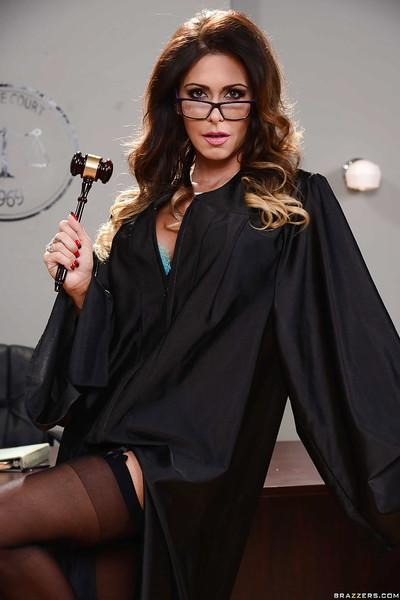 Judge Jessica Jaymes partially disrobes to reveal hot lingerie under gown