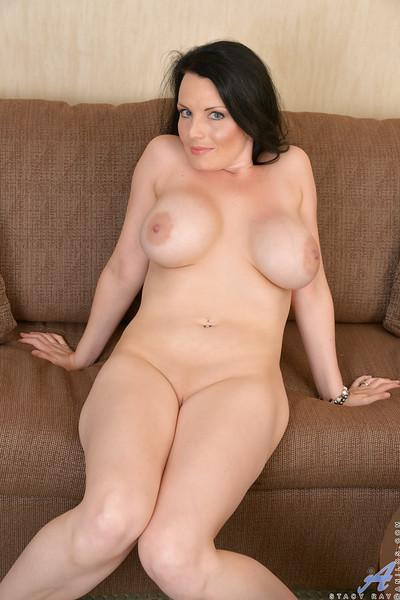 Brunette mom Stacy Ray shedding lingerie and dress to bare ass and big tits