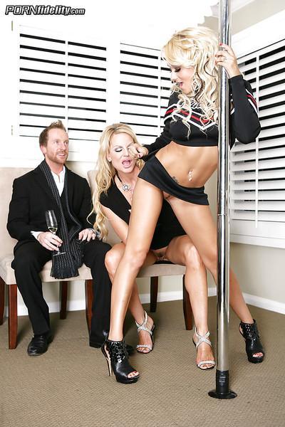 Threesome sex with a hot stripper in high heels Briana Blair