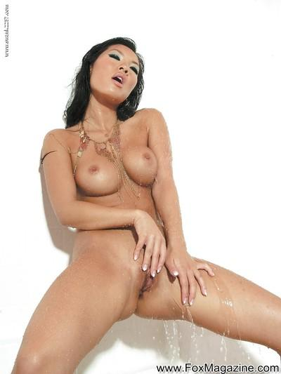 Stupendous asian MILF Asa Akira taking a shower and fingering her holes