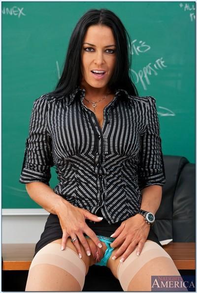 Brunette MILF teacher Vanilla DeVille posing in white stockings.