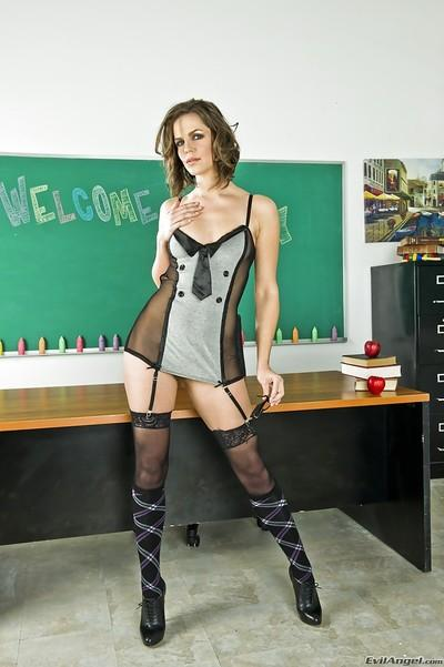 Tempting teacher with hot ass posing in lingerie and stockings