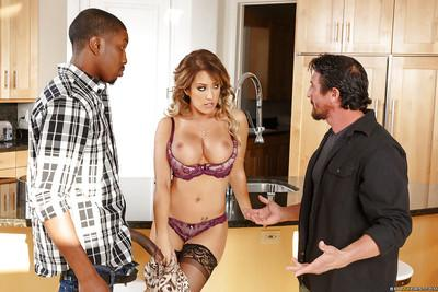 Big-breasted milf wife Capri Cavanni fucks two guys instead of hubby