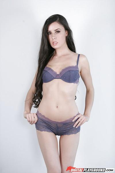 Elegant brunette in lingerie Mina Leigh makes hot show in high-heels