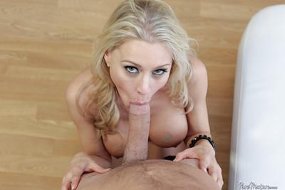 Busty blonde MILF Katie Morgan taking facial cumshot after POV blowjob