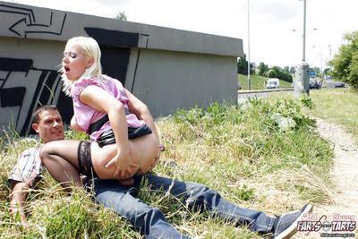 Chubby MILF in black stockings Veronika G gets slammed outdoor