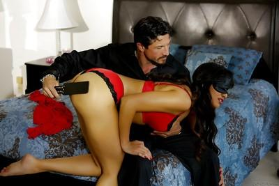 Blindfolded Latina pornstar Mercedes Carrera used as bedroom sex slave