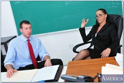 Horny MILF teacher with glasses Angel Dark fucks in reality porn show