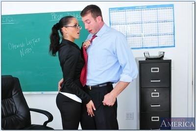 Horny MILF teacher with glasses Angel Dark fucks in reality porn show