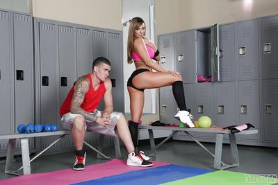 Busty tattooed Destiny Dixon fucks and swallows her trainer