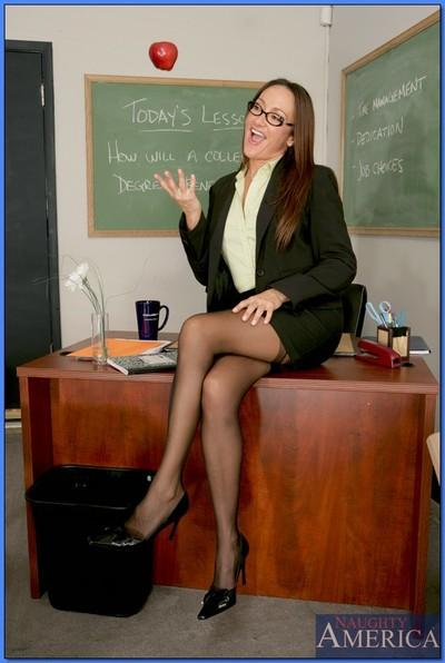 Striking MILF teacher in glasses Michelle Lay strips from sexy lingerie