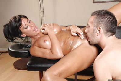 Stunning MILF with big jugs Lezley Zen sucks and fucks a masseur dick