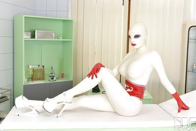 Top rated fetish model Lucy Latex getting kinky in full body latex uniform