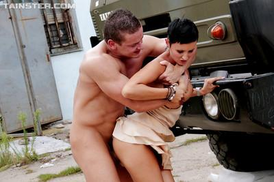 Lascivious ladies getting pissed and nailed hardcore outdoor