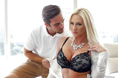 Buxom blonde mom Alexis Malone taking doggystyle cock on bed
