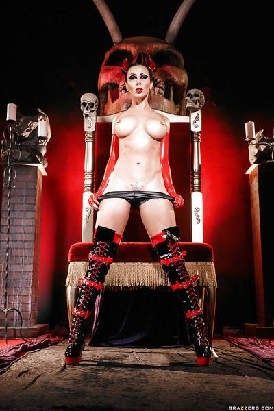 Kinky cosplay model Rachel Starr modeling naughty latex uniform and boots