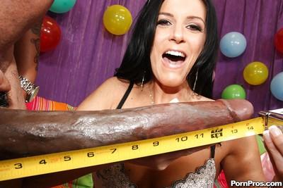 Gorgeous babe India Summer fits a monster cock with bukkake