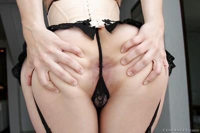 Leggy babe in lingerie and stockings Bobbi Starr revealing her love holes