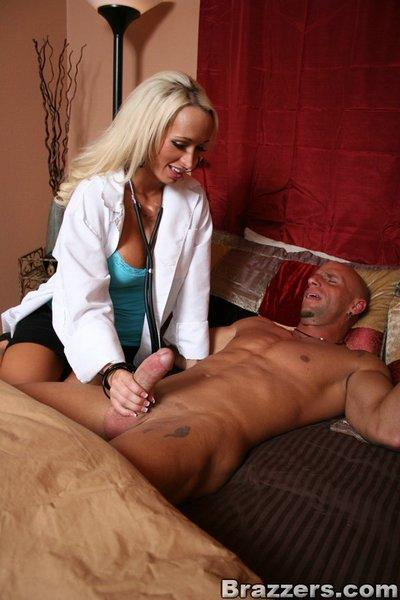 Big titted doctor babe Lichelle Marie bouncing on a hard cock
