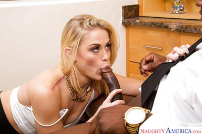 Interracial blonde Ash Hollywood is sucking this nice black dong