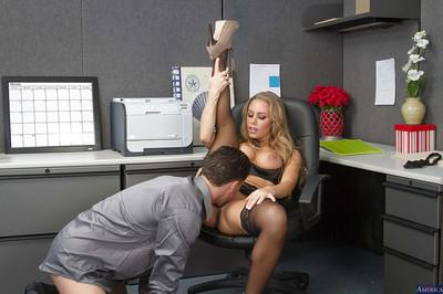 Glamorous secretary Nicole Aniston gives a deep blowjob in the office