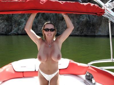 Seductive MILF in white bikini Wifey having some fun outdoor