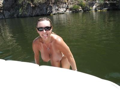 Seductive MILF in white bikini Wifey having some fun outdoor