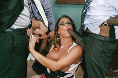 Nerdy MILF Tory Lane taking filthy anal sex from big white and black cocks