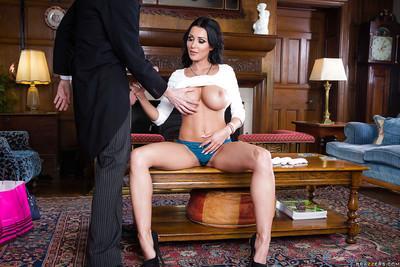 Married brunette MILF Patty Michova baring huge tits before giving handjob