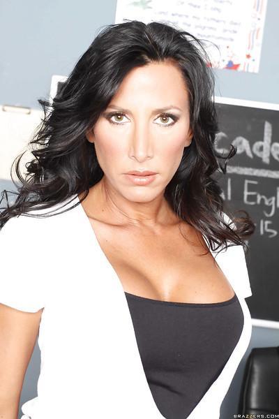 Stunnung milf teacher Lezley Zen shows her big tits and babe