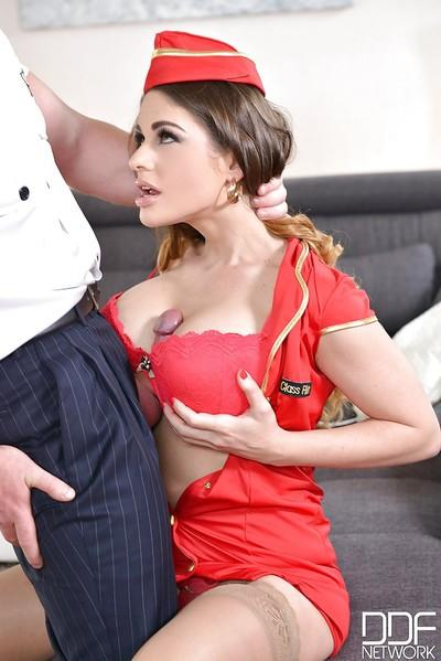 Buxom Euro mom in uniform Cathy Heaven taking big cock in shaved pussy