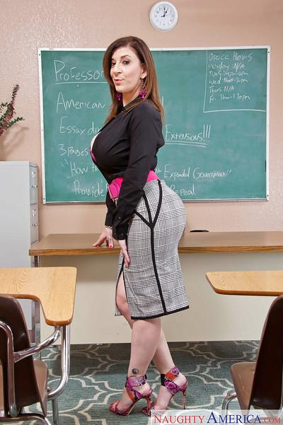 Teacher milf Sara Jay shows off her sexy-looking big boobies