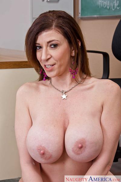 Teacher milf Sara Jay shows off her sexy-looking big boobies