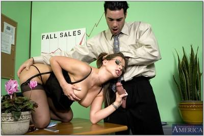 Hot office MILF in lace stockings Rachel Roxxx get her pussy dicked