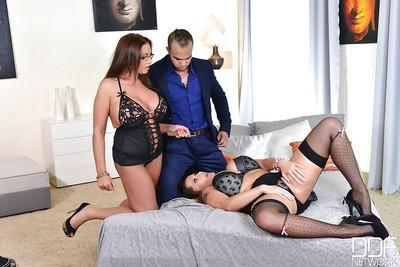 Big tits milf Laura Orsolya and her gf Emma Butt enjoy a threesome