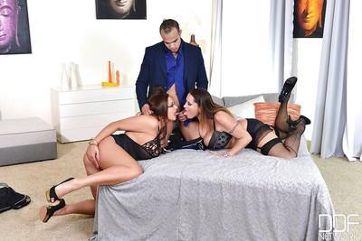 Big tits milf Laura Orsolya and her gf Emma Butt enjoy a threesome