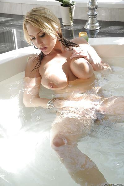 Gorgeous MILF with big round boobs Alanah Rae taking a bath